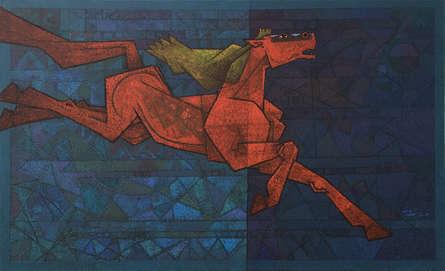 Animals Acrylic Art Painting title 'The Yearning' by artist Dinkar Jadhav