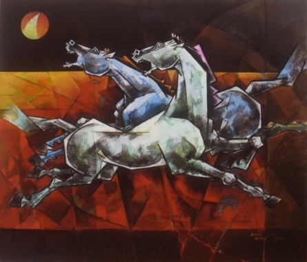 Animals Acrylic Art Painting title 'Unity Is The Biggest Leap Forward 2' by artist Dinkar Jadhav