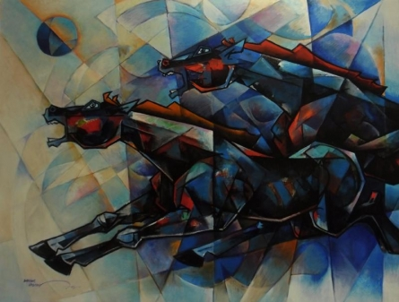 Horses Waltzing In The Sky - 4 | Painting by artist Dinkar Jadhav | acrylic | Canvas
