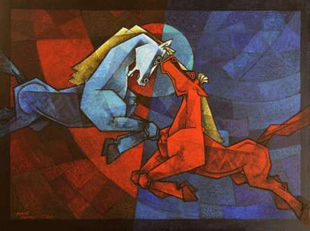 Animals Acrylic Art Painting title 'Waltzing horses 1' by artist Dinkar Jadhav