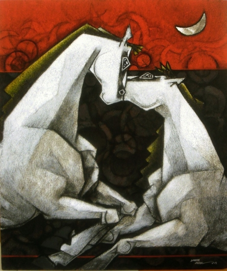 Animals Acrylic Art Painting title 'Horses Waltzing In The Dream VI' by artist Dinkar Jadhav