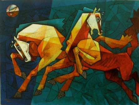 Horses Waltzing In The Sky | Painting by artist Dinkar Jadhav | acrylic | Canvas