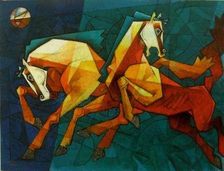 Horses Waltzing In The Sky | Painting by artist Dinkar Jadhav | acrylic | Canvas