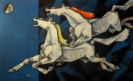 Animals Acrylic Art Painting title 'Horses Waltzing In The Sky IX' by artist Dinkar Jadhav