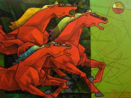 Animals Acrylic Art Painting title 'Waltzing Horses' by artist Dinkar Jadhav