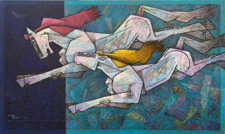 Animals Acrylic Art Painting title 'Horses 6' by artist Dinkar Jadhav