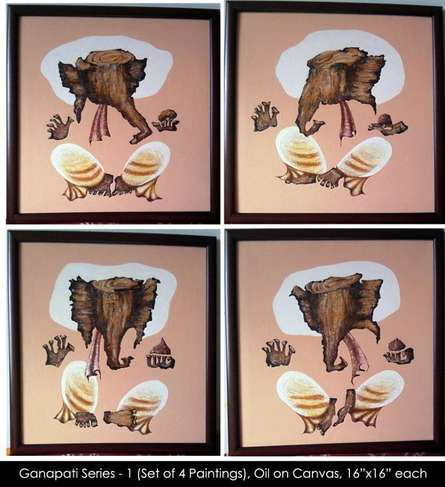 Religious Acrylic Art Painting title 'Ganpati Series 1' by artist Mrs. Sushama Gode
