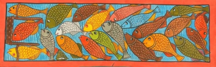 Amaidi Crafeteria | Watercolor Painting title Fish Pool on Paper | Artist Amaidi Crafeteria Gallery | ArtZolo.com