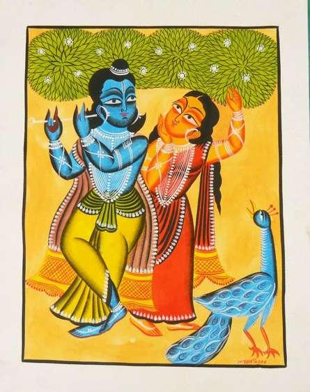 Religious Watercolor Art Painting title 'Krishna Radha' by artist Amaidi Crafeteria