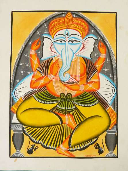 Religious Watercolor Art Painting title 'Ganesha' by artist Amaidi Crafeteria