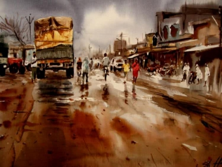 Cityscape Watercolor Art Painting title 'Untitled' by artist Hamlet Shougrakpam
