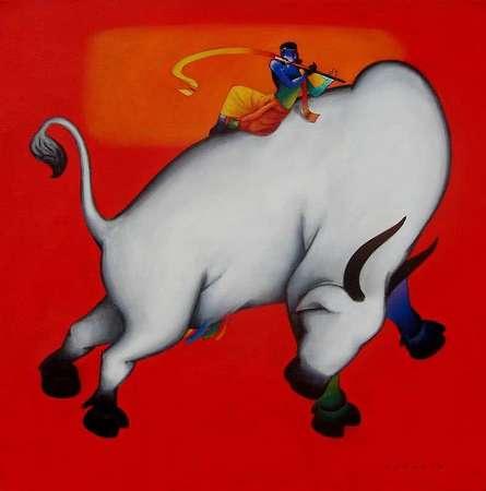 Figurative Acrylic Art Painting title 'Krishna Lila' by artist Rajesh Shah