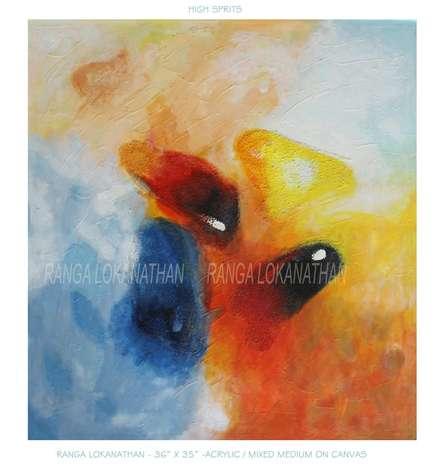 High Sprits | Mixed_media by artist Ranga Naidu | Canvas