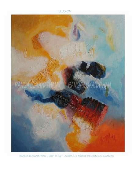 Ranga Naidu | Illusion Mixed media by artist Ranga Naidu on Canvas | ArtZolo.com
