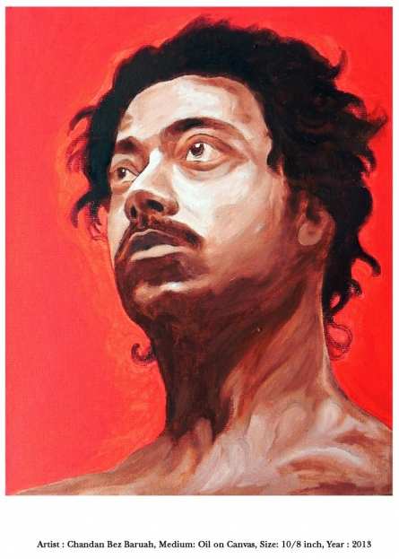 Expressionist Oil Art Painting title 'self ' by artist Chandan Bez Baruah