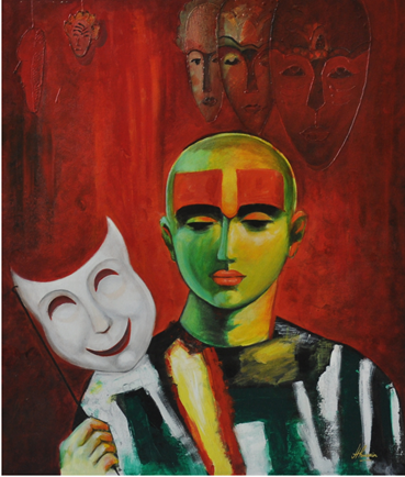 Figurative Acrylic Art Painting title 'Beyond Good And Evil' by artist Huma Hussain