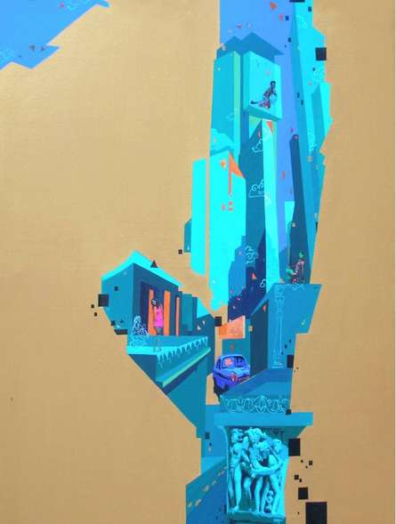 Urban Landscape 4   Painting by artist Abhijit Paul   mixed-media   Canvas
