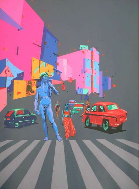 Abhijit Paul | Mixed-media Painting title David Holds The City on Canvas | Artist Abhijit Paul Gallery | ArtZolo.com