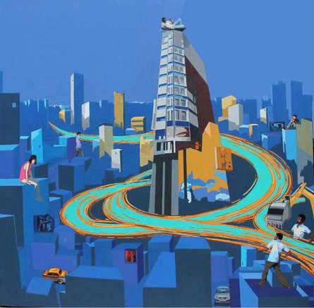 Fantasy Acrylic Art Painting title 'Charming The City' by artist Abhijit Paul