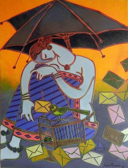 Santanu Nandan Dinda | Acrylic Painting title Fortune Teller on Canvas | Artist Santanu Nandan Dinda Gallery | ArtZolo.com