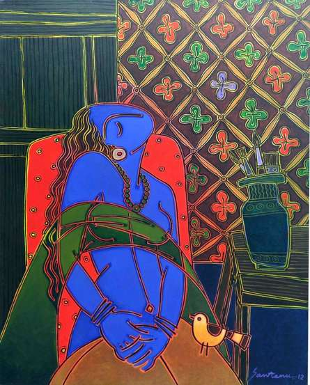 Figurative Acrylic Art Painting title 'Lady On A Red Chair' by artist Santanu Nandan Dinda