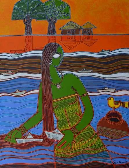 Boats | Painting by artist Santanu Nandan Dinda | acrylic | Canvas