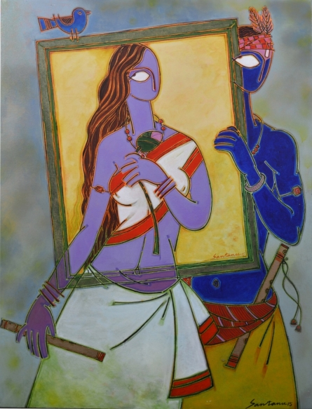Figurative Acrylic Art Painting title In A Frame 1 by artist Santanu Nandan Dinda