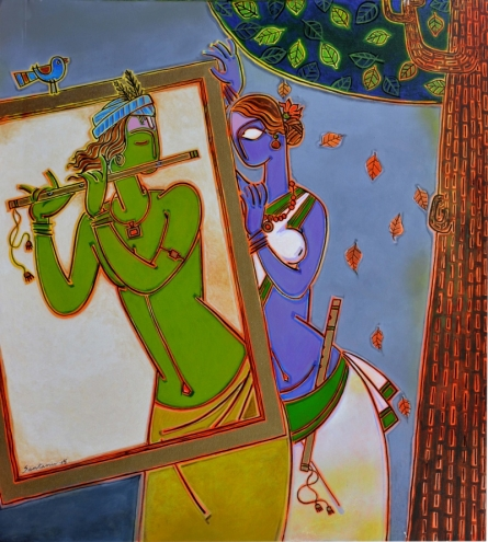 Figurative Acrylic Art Painting title In A Frame 2 by artist Santanu Nandan Dinda
