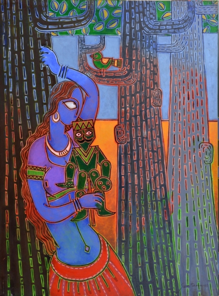 Figurative Acrylic Art Painting title 'Lady With A Puppet 1' by artist Santanu Nandan Dinda