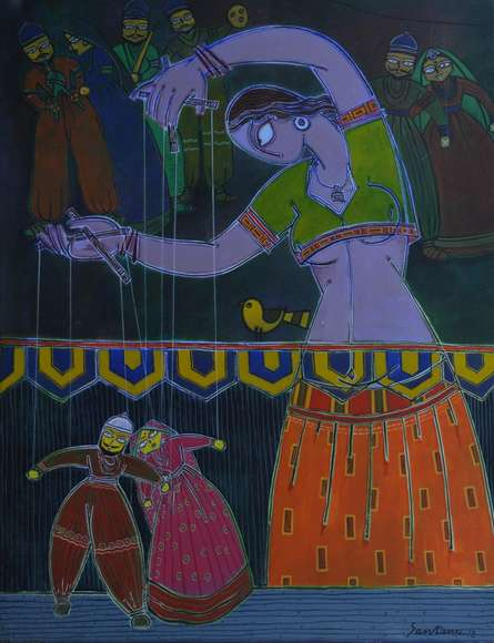 Figurative Acrylic Art Painting title 'Lady With A Puppet 3' by artist Santanu Nandan Dinda