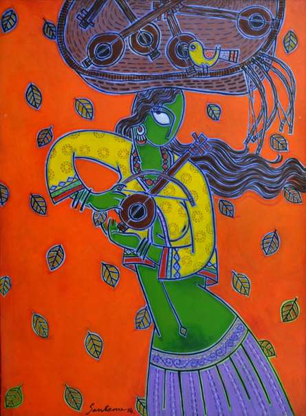 Figurative Acrylic Art Painting title 'Toy Seller' by artist Santanu Nandan Dinda