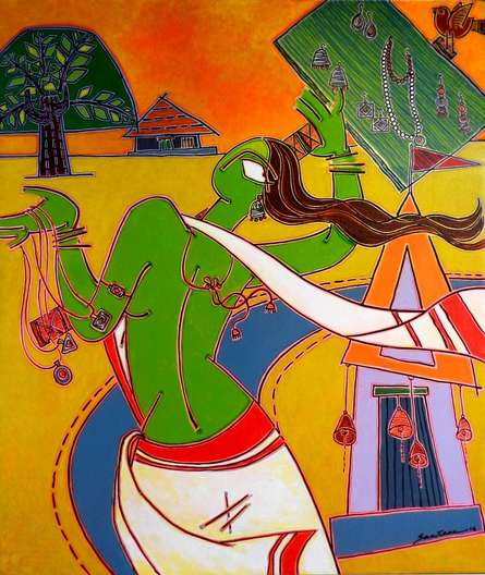 indian, lady, contemporary, folk, tribal art, canvas, acrylic, santanu, dinda