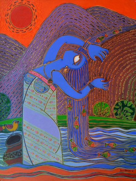 indian, lady, contemporary, folk, tribal art, canvas, acrylic, santanu, dinda