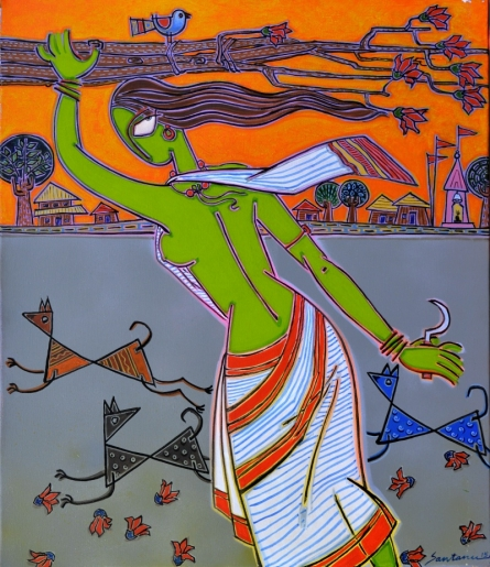 Santanu Nandan Dinda | Acrylic Painting title Woman With Dogs on Canvas | Artist Santanu Nandan Dinda Gallery | ArtZolo.com