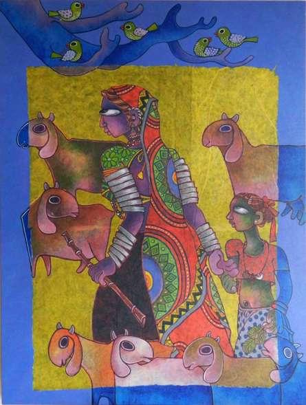 Mother ' Child   Painting by artist Sunita Dinda   acrylic   Canvas