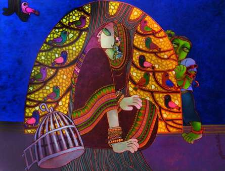 Figurative Acrylic Art Painting title 'Freedom 2' by artist Sunita Dinda