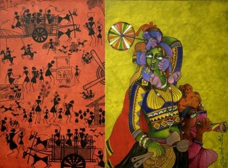 Figurative Acrylic Art Painting title 'Village Fair' by artist Sunita Dinda