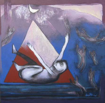 Untitled - 6 | Painting by artist Pradip Kumar Sau | acrylic | Canvas