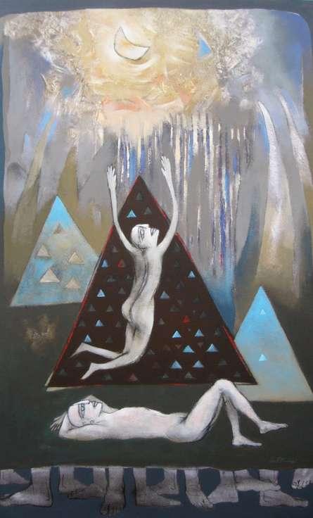 Figurative Acrylic Art Painting title 'Untitled 3' by artist Pradip Kumar Sau