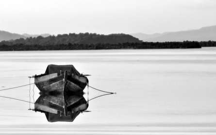 Solo Boat | Photography by artist Vaibhav Kadam | Art print on Canvas