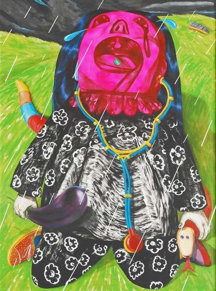 Kneel Down | Painting by artist Sumantra Mukherjee | acrylic | Canvas