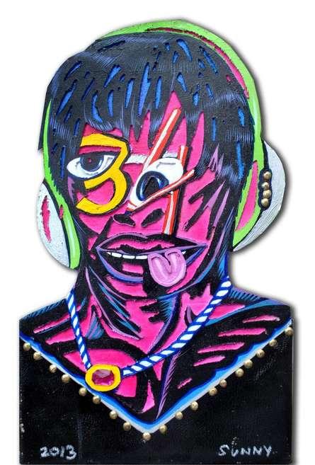 Sumantra Mukherjee | Acrylic Painting title Music Lover on Engraved Board | Artist Sumantra Mukherjee Gallery | ArtZolo.com