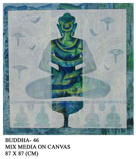 Motivational Mixed-media Art Painting title 'Buddha 46' by artist Anurag Jadia