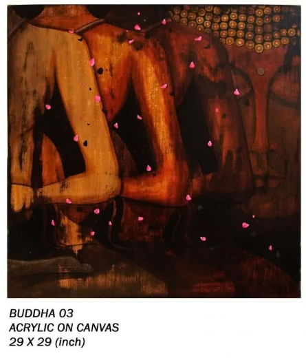 Motivational Mixed-media Art Painting title 'Buddha 03' by artist Anurag Jadia