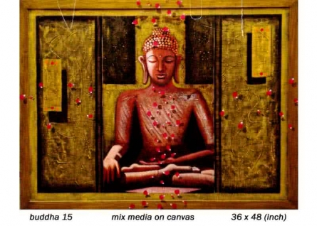 Figurative Mixed-media Art Painting title 'Buddha 15' by artist Anurag Jadia