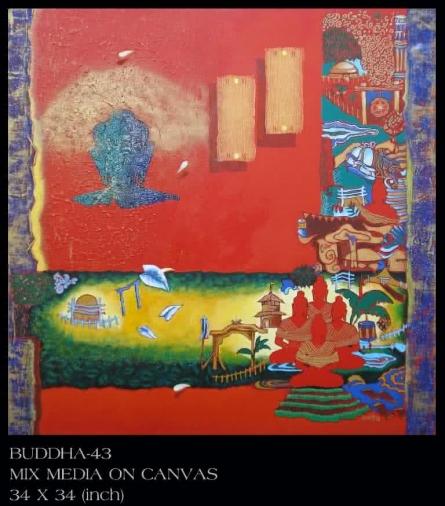 Motivational Mixed-media Art Painting title 'Buddha 43' by artist Anurag Jadia