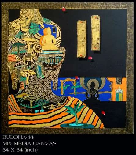Buddha 44 | Painting by artist Anurag Jadia | mixed-media | Canvas
