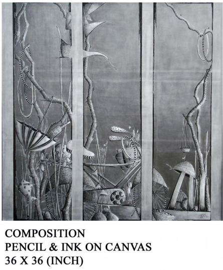 Landscape Pencil Art Drawing title 'Composition' by artist Trapti Gupta