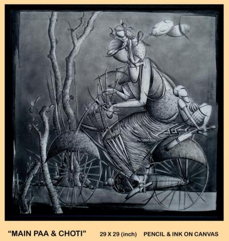 Main Paa ' Choti   Drawing by artist Trapti Gupta      pencil   Canvas