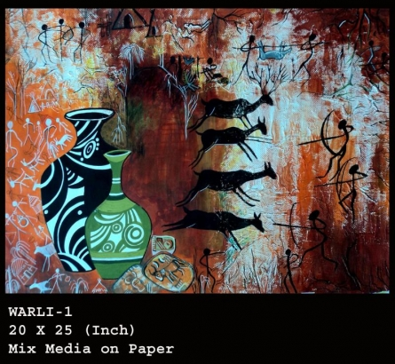 WARLI 1 | Painting by artist Ranjeet Plaha | mixed-media | Paper